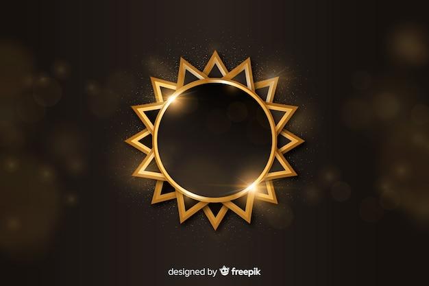 黄金の幾何学的図形と豪華な背景