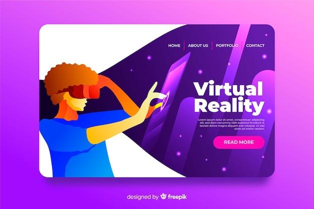 Плоский дизайн шаблона целевой страницы виртуальной реальности