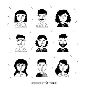 Коллекция рисованной людей аватара