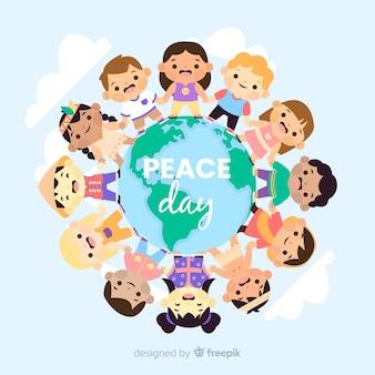 子供とフラットの平和の日の背景