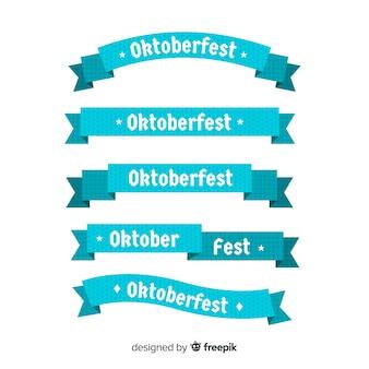 Плоский дизайн коллекции ленты октоберфест