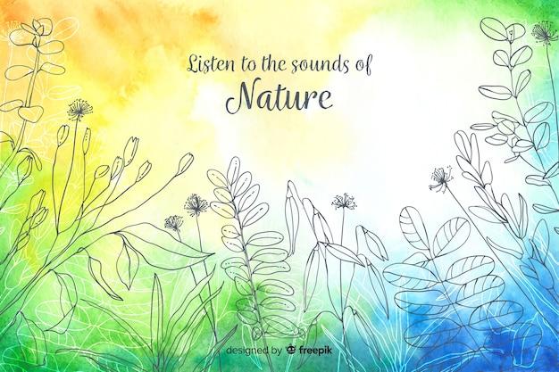 自然についての引用と抽象的な背景