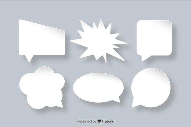 Плоский стиль бумаги коллекции речи пузырь