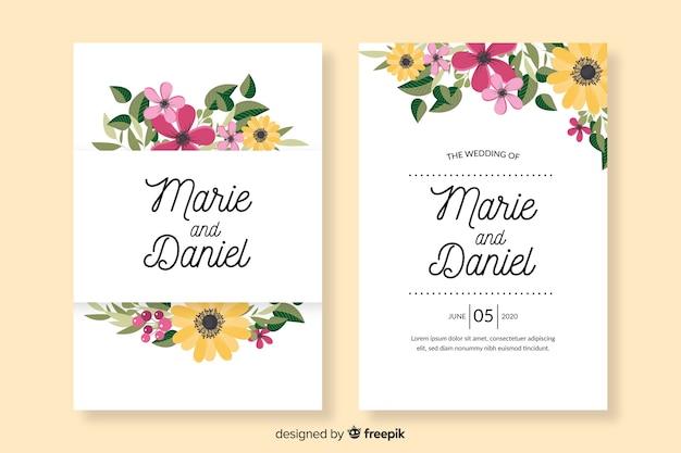 平らな花の結婚式の招待状のテンプレート
