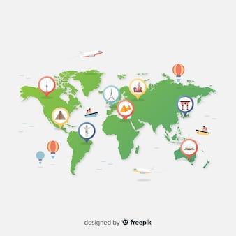 図解されたピンポイントを使用したグラデーション世界観光デー