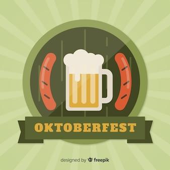 オクトーバーフェストビールとソーセージのフラットなデザイン