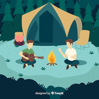 キャンプに行く人々のフラットなデザイン