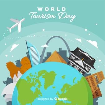 世界の観光日の背景にランドマークと輸送
