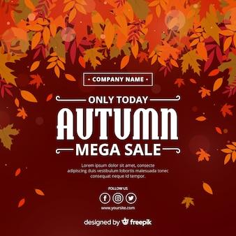 Осенние продажи фона плоский стиль