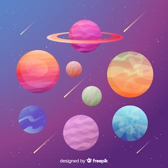 平らなカラフルな惑星のコレクション