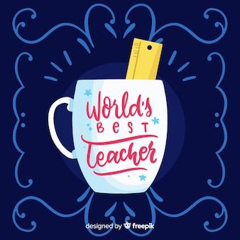 世界教師の日のレタリングの背景