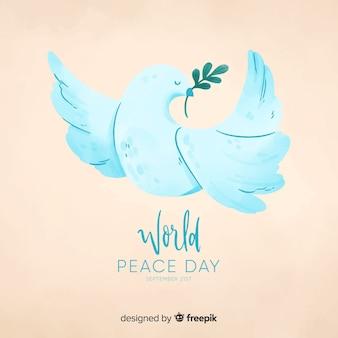 鳩と水彩の平和の日の背景