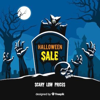 Хэллоуин продажа фон плоский дизайн