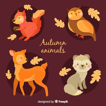 フラット秋の森の動物コレクション