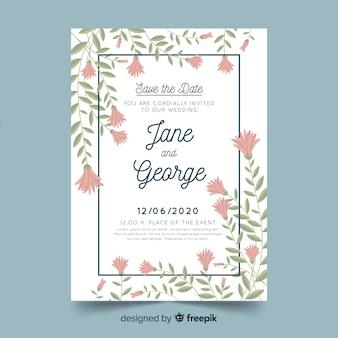 結婚式の招待状テンプレート花柄