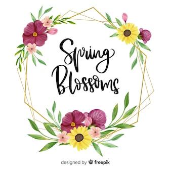 花柄のデザインと春の花の引用を持つフレーム