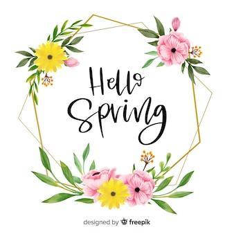 花柄のデザインとこんにちは春の挨拶フレーム