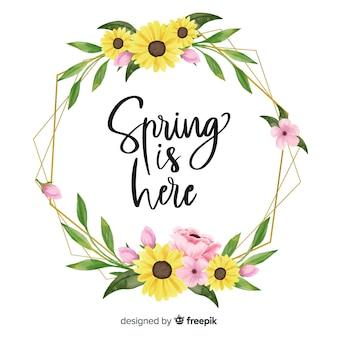 春はここに白い背景のフレーム