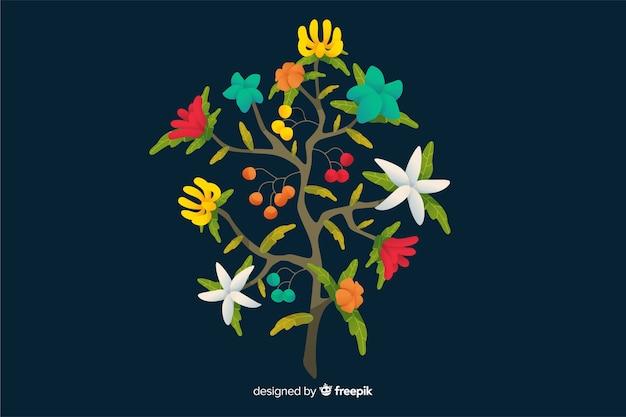 フラットなデザインのカラフルな花の枝