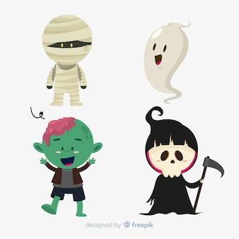 Пакет символов хэллоуина плоский дизайн