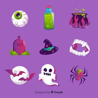 Набор элементов хэллоуин плоский стиль