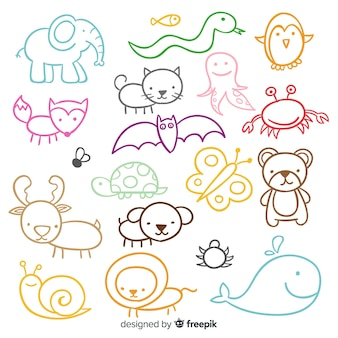 かわいい手描き動物のセット
