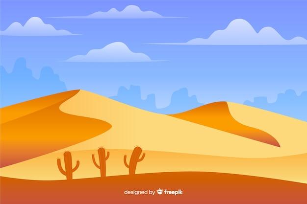 砂漠の風景の背景のフラットなデザイン