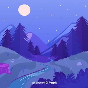 自然風景イラストフラットデザイン
