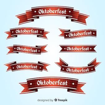 オクトーバーフェストリボンフラットデザインのコレクション