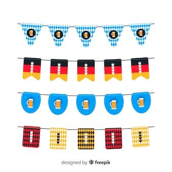 オクトーバーフェストガーランドフラットデザインのコレクション