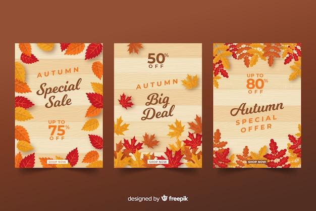 Осенняя распродажа баннеров плоский дизайн