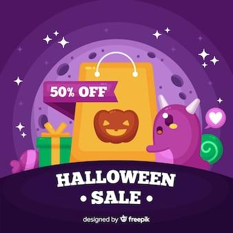 Хэллоуин продажа фон плоский стиль