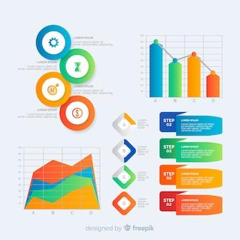 グラデーションインフォグラフィック要素テンプレートコレクション
