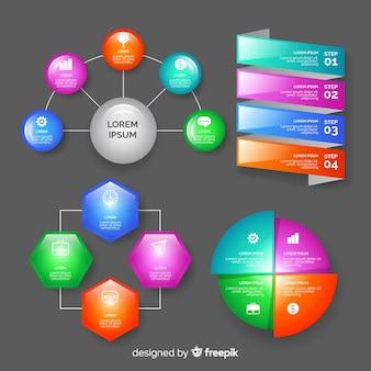 現実的な光沢のあるインフォグラフィック要素のコレクション