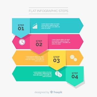 Плоский инфографический шаблон с шагами