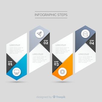 Градиент инфографики шаблон с шагами