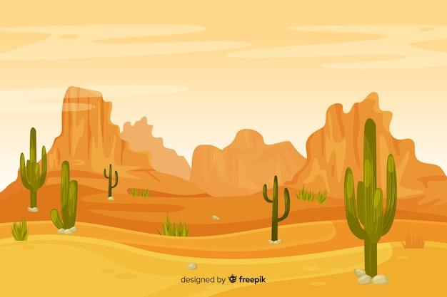 砂丘とサボテンの砂漠の風景