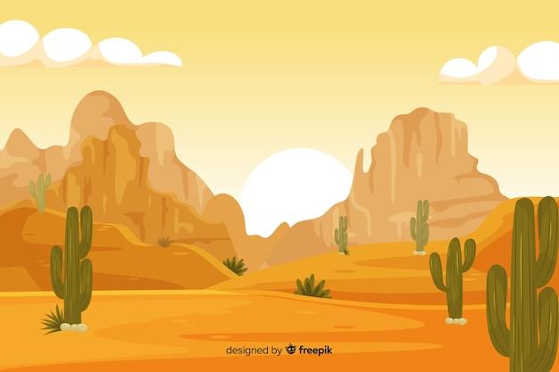 Пустынный пейзаж фон с кактусами