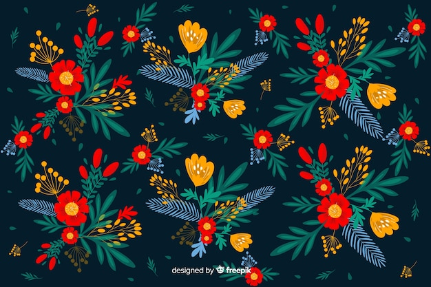 Повторяющийся плоский красивый цветочный фон
