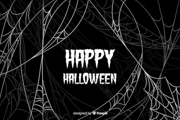 Плоский фон хэллоуин паутина