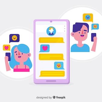 イラスト付きの出会い系アプリのコンセプト