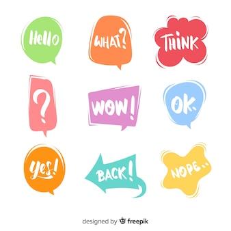 Прикольные красочные речевые пузыри для диалога