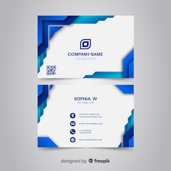 Синяя визитка с абстрактным логотипом