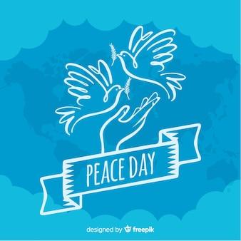 単純な手描きの平和の日