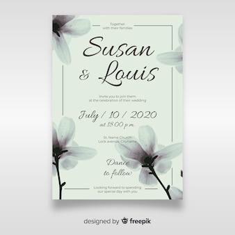 かわいい花の結婚式の招待状のテンプレート