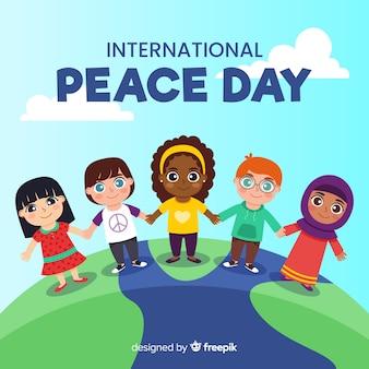 手を繋いでいる子供の平らな平和の日