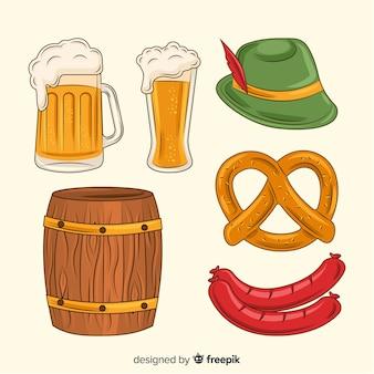 手描きのオクトーバーフェスト料理とビールのコレクション