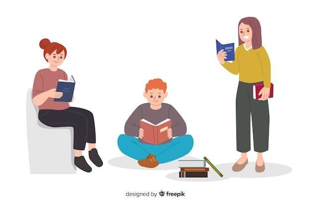 一緒に読んでいる若者