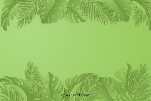 Зеленый монохромный фон с листьями