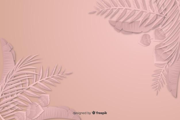 葉のフレームと紙のスタイルの背景